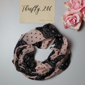 Accessories - Sheer Polka Dot & Lace Patterned Sheer Scarf